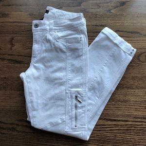 WHBM White Moto Slim Ankle Cargo Jeans
